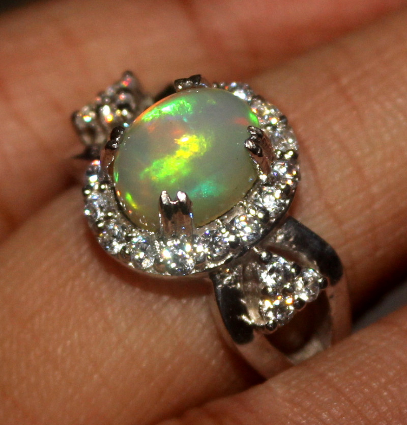 Natural Ethiopian Welo Opal 925 Silver Ring 171