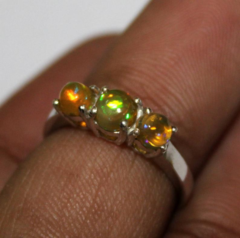 Natural Ethiopian Welo Opal 925 Silver Ring 131