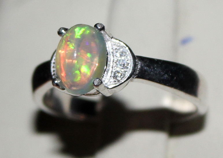 Natural Ethiopian Welo Opal 925 Silver Ring 45