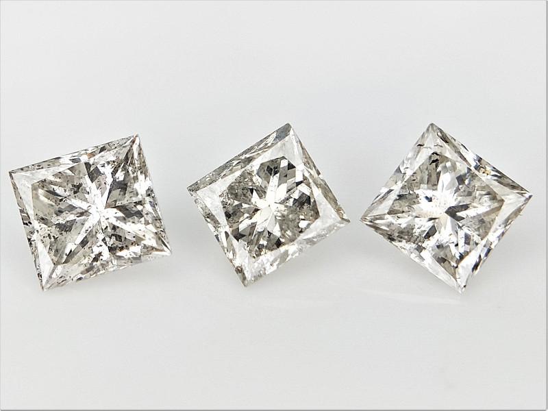 3/0.52 cts , Natural Princess Diamonds , Sparkling Natural diamonds
