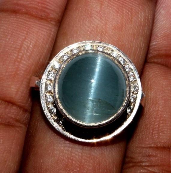 Natural Aquamarine 925 Silver Ring 23