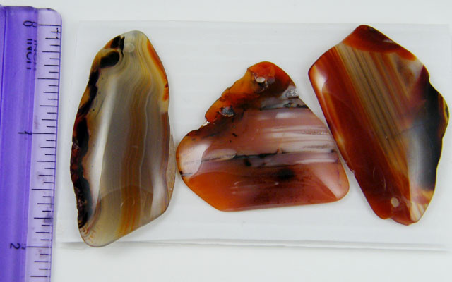 PARCEL  THREE FREEFORM  BANDED  AGATES 121CARATS   AAT71