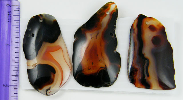 PARCEL  THREE FREEFORM  BANDED  AGATES146  CARATS   AAT73