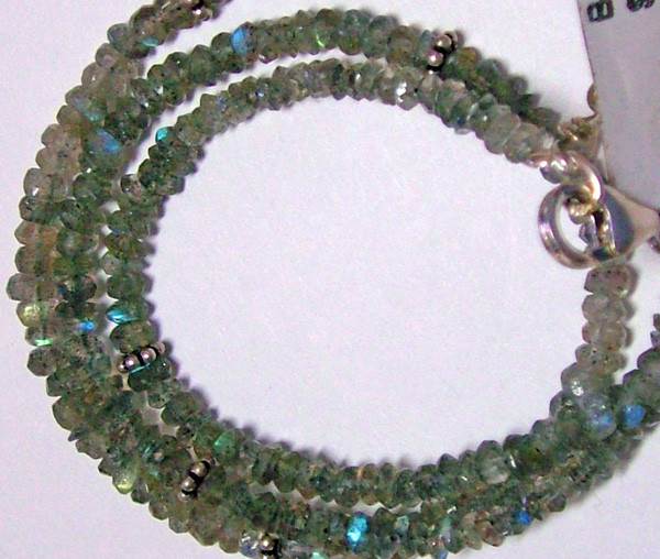 42CTS LABRADORITE FACETED BEADS NECKLACE  3MM ADG-825