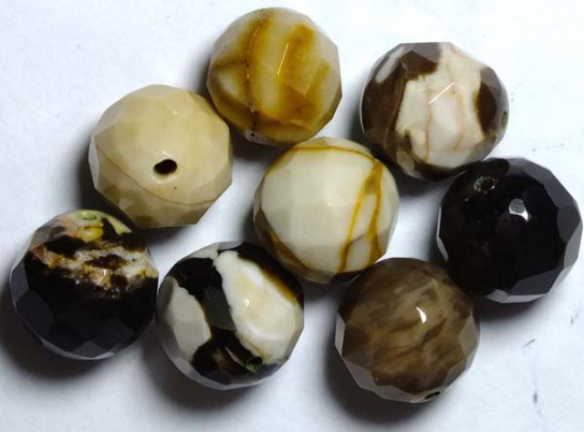 PETRIFIED WOOD BEADS, (8PC) 61.75CTS NP-1039