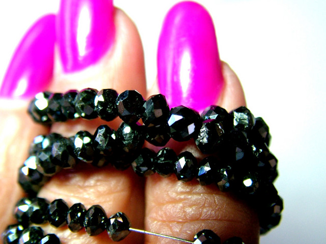 BLACK DIAMOND FACETED BEADS 4MM HIGH QUALITY 48.5 CTS SG-258