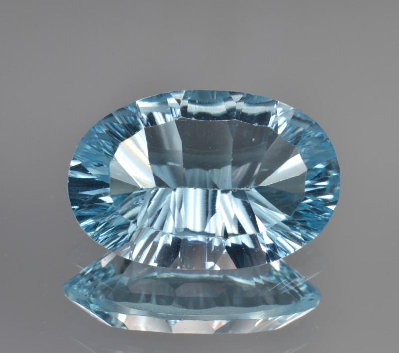 Natural Blue Topaz 5.82 Cts Concave Cut.