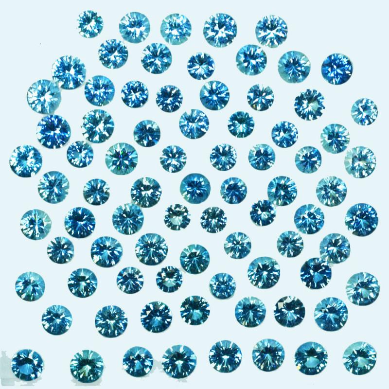 14.86Cts Natural Nice Blue Aquamarine 3.30mm Round Diamond  Cut Parcel Braz