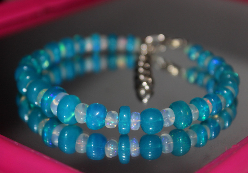 68 Crts Natural Ethiopian Welo Blue & White Opal Bracelet 237
