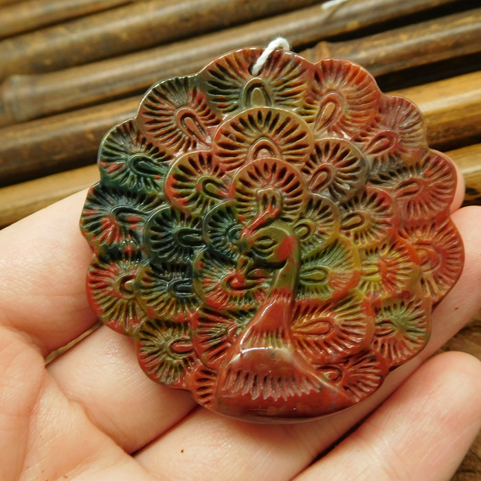 Fancy agate peacock carft pendant jewelry (G2573)