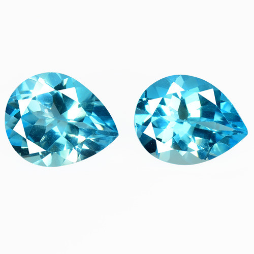 Topaz 7.35 Cts 2 Pcs Millennium Cut Super Swiss Blue Natural Gemstones
