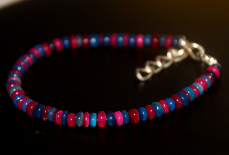 24 Crts Natural Ethiopian Welo Multi Color Opal Bracelet 268