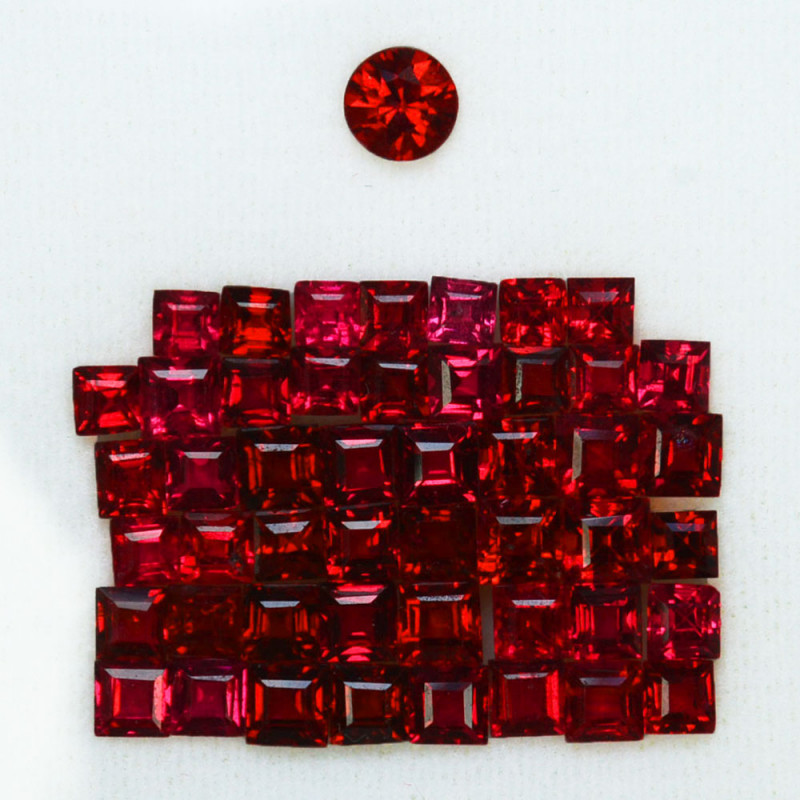 4.95Cts~VIVID RED~ Natural Burmese Spinel Square Cut (2.00 - 2.50mm)
