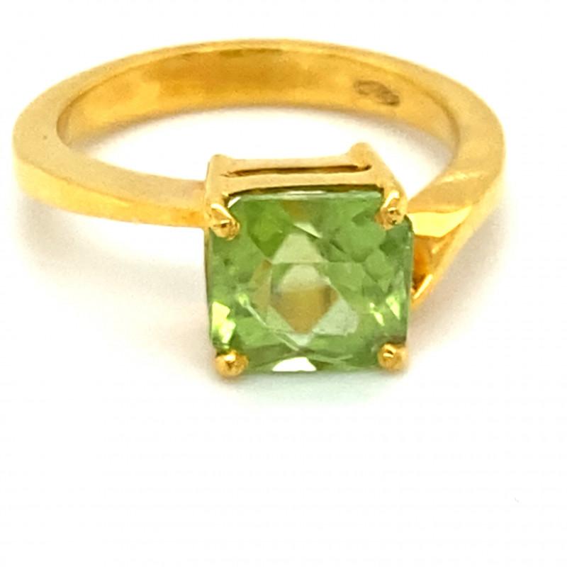 Peridot 3.02ct Solid 18K Yellow Gold Ring
