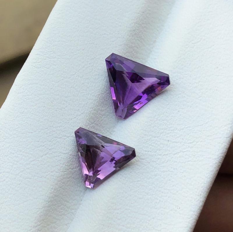 3.50 Ct Natural Purple Transparent Amethyst Gemstones Pairs