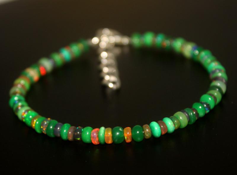 22 Crts Natural Ethiopian Welo Multi Color Opal Bracelet 282