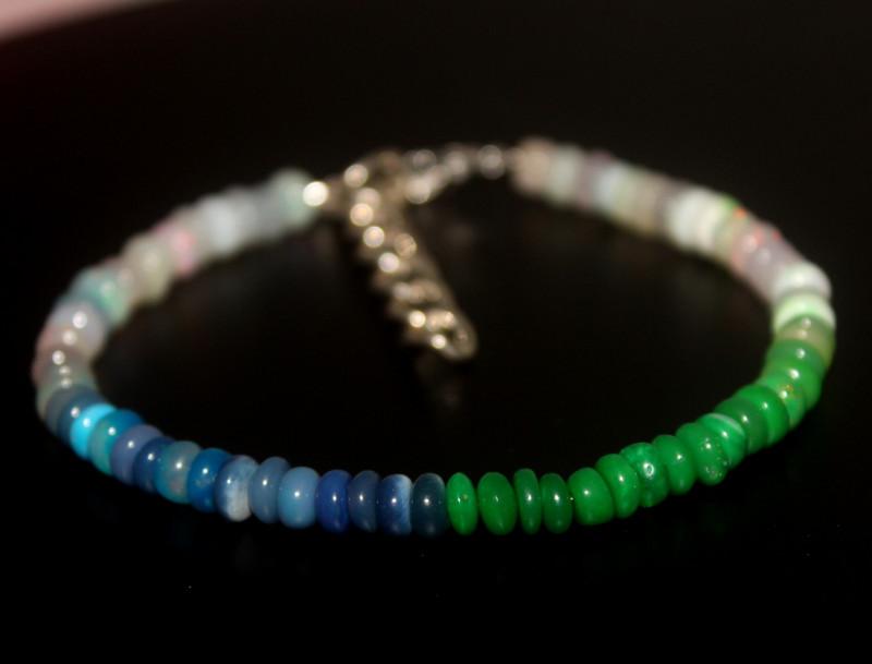 28 Crts Natural Ethiopian Welo Multi Color Opal Bracelet 284