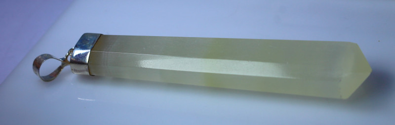 83.05 CT Natural - Unheated Green Calcite Pendant With Silver Cap