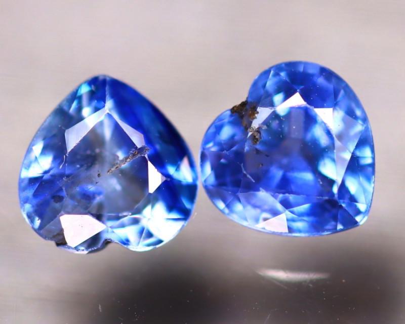 Unheated Sapphire 1.35Ct 2Pcs Natural Heart Shape Blue Sapphire EE2633/B32