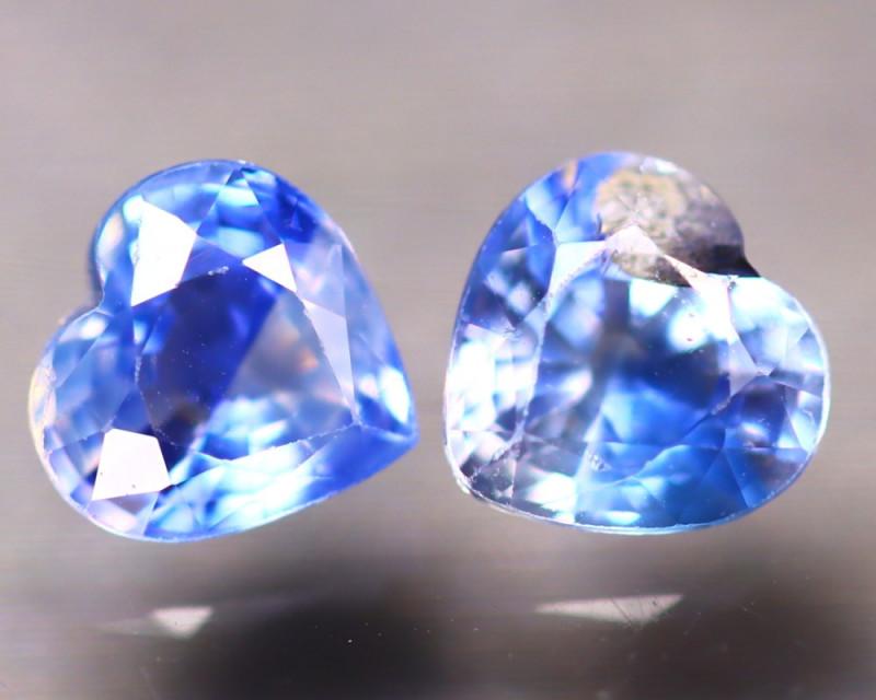 Unheated Sapphire 1.23Ct 2Pcs Natural Heart Shape Blue Sapphire EE2636/B32
