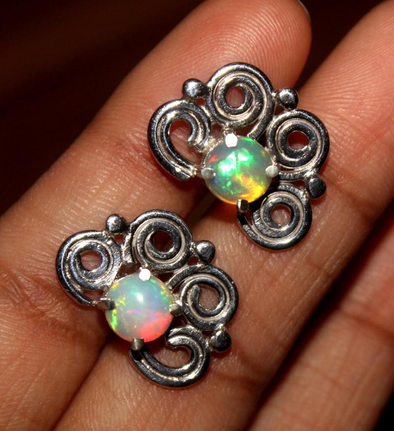 Natural Ethiopian Welo Opal Stud Earrings 48