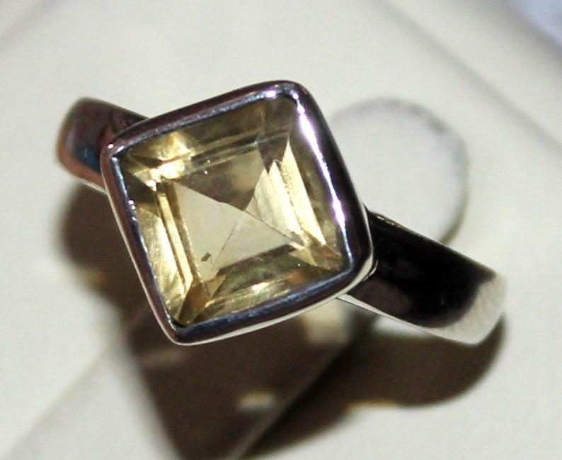 Natural Citrine 925 Silver Ring 98