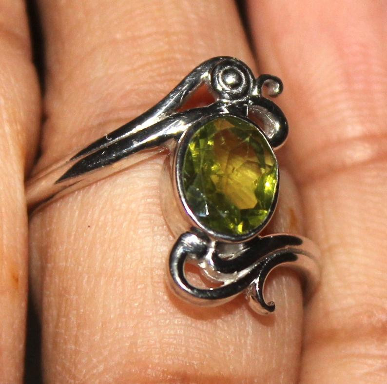 Natural Peridot 925 Silver Ring 84