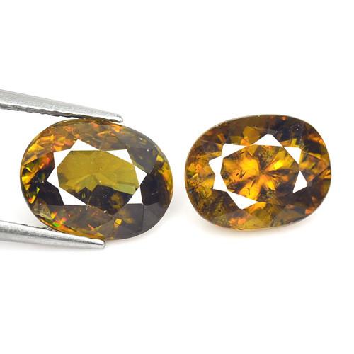 Sphene 6.11 Cts 2pcs Color Change Natural Gemstone