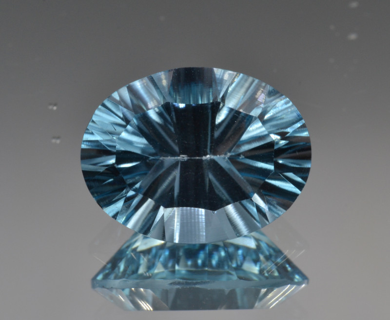 Natural Blue Topaz 6.84 Cts Concave Cut.