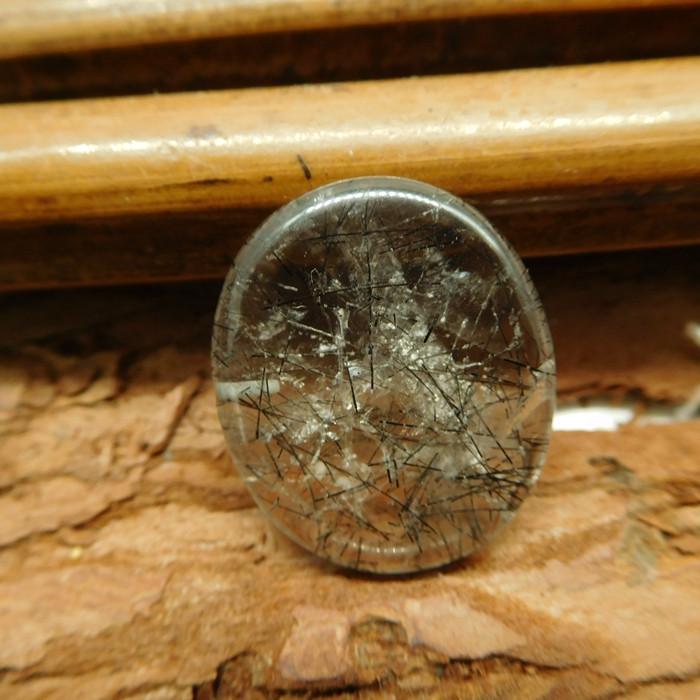 Black rualitaled quartz cabochon (G2594)