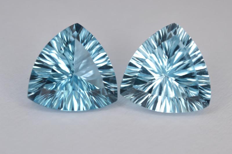 Natural Blue Topaz Pair 9.11 Cts Concave Cut.