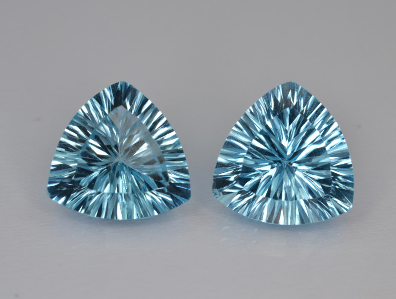 Natural Blue Topaz Pairs 10.51 Cts Concave Cut.
