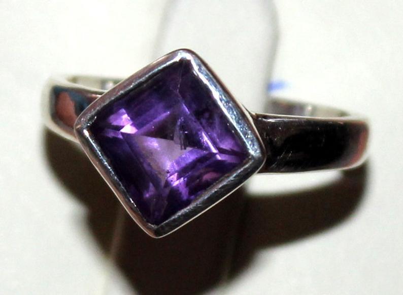 Natural Amethyst 925 Silver Ring 97