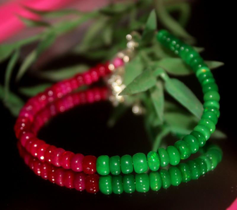 26 Crts Natural Ethiopian Welo Multi Color Opal Bracelet 310