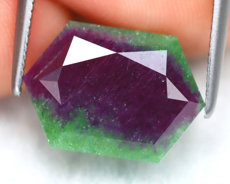 Ruby Zoisite 7.89Ct Hexagon Cut Natural Unheated Ruby Zoisite C2503