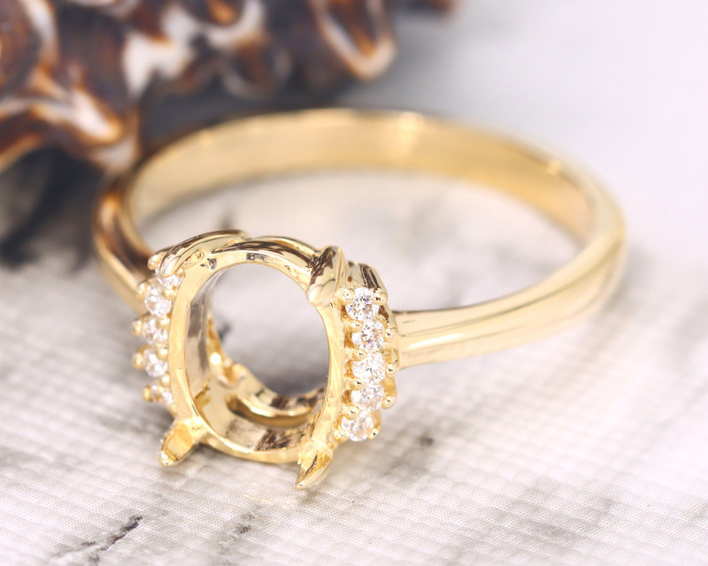 Oval 9x7mm Semi Mount Engagement Diamond 9K Gold Ring J52R