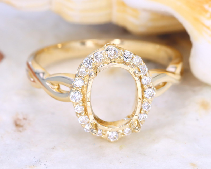 Oval 9x7mm Semi Mount Engagement Diamond 9K Gold Ring J57R