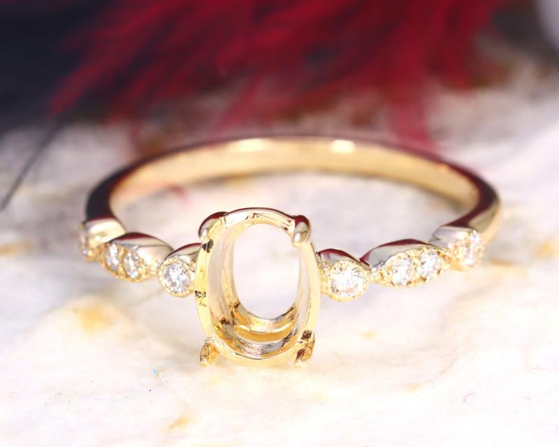 Oval 7x5mm Semi Mount Engagement Diamond 9K Gold Ring J70R