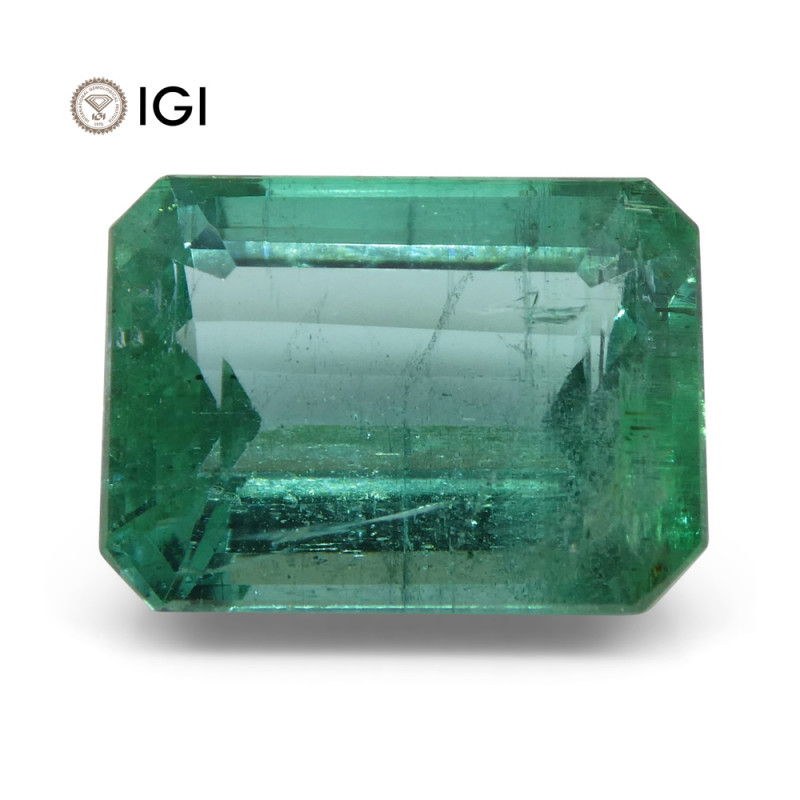 6.35 ct Emerald Cut Emerald IGI Certified Zambian with Inscription