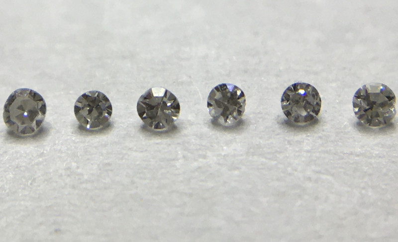 0.012 ct 6 x Fancy Light Grey - Fancy Grey VVS-SI Single Cut Round Diamonds