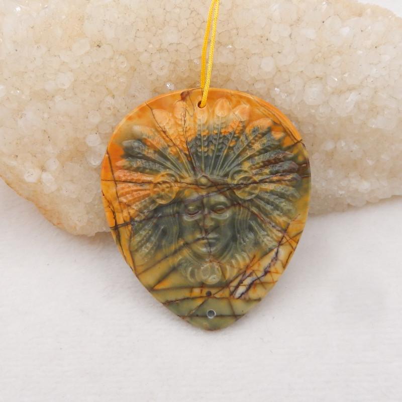 131cts Designer, Indian Carving ,Multi color jasper Indian Pendant Bead H12