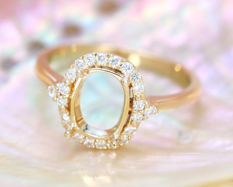 Oval 9x7mm Semi Mount Engagement Diamond 10K Gold Ring J77R
