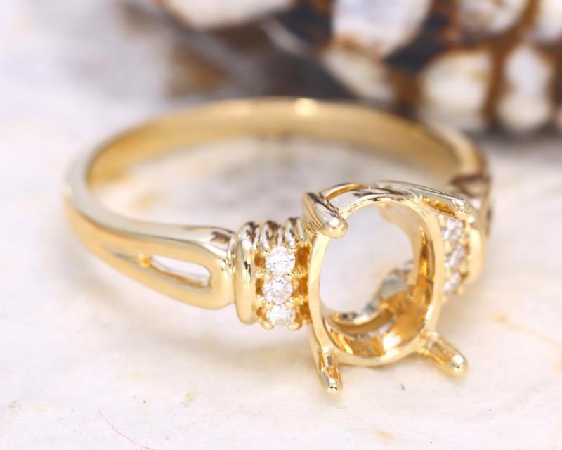 Oval 8x6mm Semi Mount Engagement Diamond 9K Gold Ring J75R
