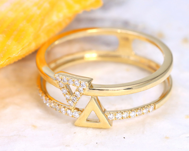 Double Geometry Design Natural Diamond 9K Yellow Gold Ring J02R