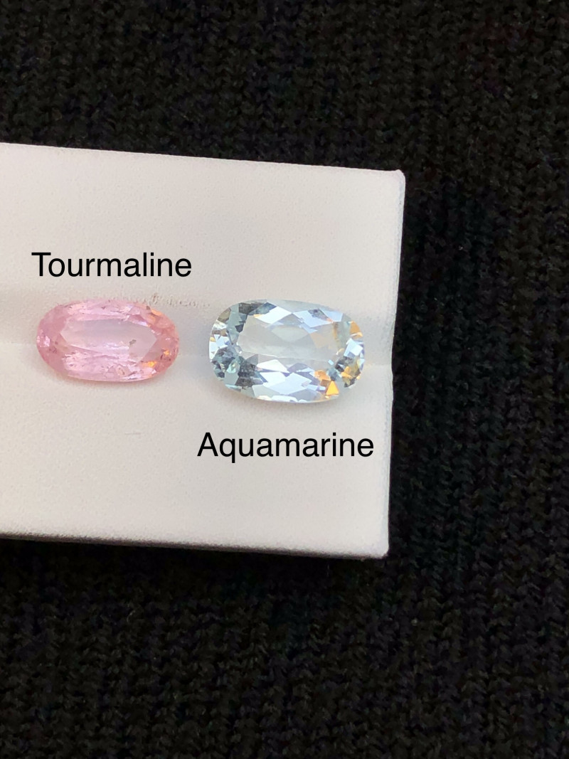 Combine 6.75ct Aquamarine and Pink Tourmaline Parcel Ring size