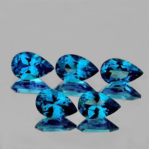 8x5 mm Pear 5 pcs 5.10cts London Blue Topaz [VVS]