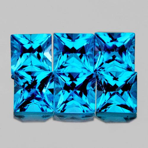 3.80 mm Square Princess 6pcs 2.04cts Swiss Blue Topaz [VVS]