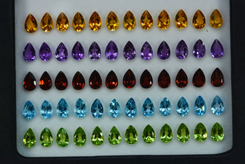 25.15Cts Natural Fancy colour semi precious Pear 6 X 4mm Calibrated  Parcel