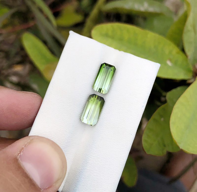 4.90 Ct Natural Bi Color Transparent Tourmaline Gemstones Pairs