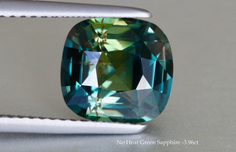 Gleaming Unheated Green Sapphire - Cushion 3.96 ct - Srilanka